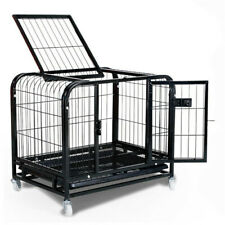 Square Pet Crate Bed Dog Folding Kennel Cage Crate Metal with Abs Tray Wheel