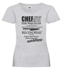 Ladies Grey Head Chef Defined T-Shirt Shirt Cook Kitchen Food Cooking