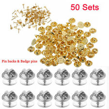 50 Sets Tie Tacks Butterfly Pinch Back Clasp Pins Clutch Backs + Badge Pins