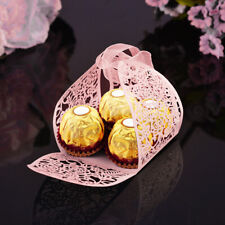 10x Candy Gift Box Wedding with Ribbon Hollow Wedding Candy Boxes For Wedding @
