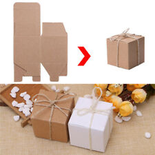 50pcs Kraft Paper Chic Square Sweets Candy Gift Boxes Wedding Party Favor ~