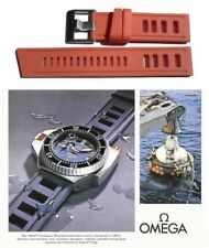 Silicone rubber watch strap for Omega Seamaster. ORANGE vintage type dive band.
