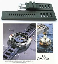 Silicone rubber watch strap for Omega Seamaster. GREEN vintage type dive band.