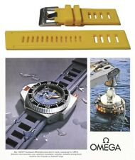 Silicone rubber watch strap for Omega Seamaster. YELLOW vintage type dive band.