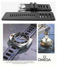 Silicone rubber watch strap for Omega Seamaster. BLACK vintage type dive band.