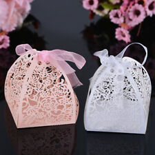 10X Candy Gift Box Wedding with Ribbon Hollow Wedding Candy Boxes For Wedding 28