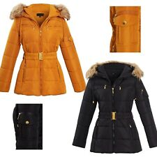NEW WOMENS LADIES QUILTED WINTER COAT PUFFER FUR HOODED JACKET PARKA SIZE 8 - 22