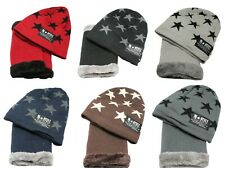 Kid Boy Girl Winter Stars Beanie Hat Cap Scarf Fleece Neck Warmer Set Age 5-12
