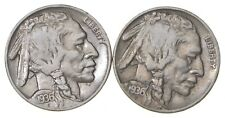 5c Buffalo Nickels - Great Detail in Buffalo Horn - 1936 & 1936 - Sweet! *157