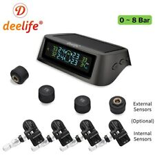 Deelife Solar TPMS Car Tire Pressure Alarm Monitor System Display Intelligent