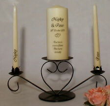 Personalised True Love Wedding Unity Candle Set - with or without holder