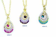 Gold tone drop pendant necklace with crystal 3 colours