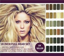 18 Inch Human Hair Extensions, Full Head Clip-In. 100% Real Remy Huamn Hair