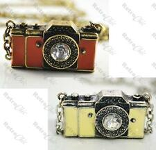 BIG crystal VINTAGE CAMERA pendant NECKLACE antique brass/silver LONG CHAIN