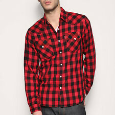 BEN DAVIS New Men Casual WESTERN Snap Rockabilly Plaid Check longsleeve shirt S