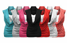 NEW LADIES WOMENS COWL SCOOP NECK STRETCH INSERT SLEEVELESS VEST TOP TSHIRT TOPS
