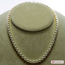 **MG** Collana Perle bianche TOP 6-6½mm in Oro 18K