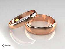 Rose Gold His and Hers set of Wedding Rings D Shaped Band Polished finish 3+5mm