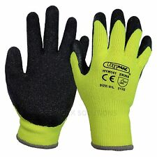 1 x Pair Of Hymac Thermal Safety Work Gloves Winter Warm Latex Grip (HYM041)