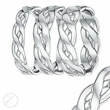 9ct White Gold Hand Made Celtic Wedding Ring Bands 5mm, 6mm, 7mm