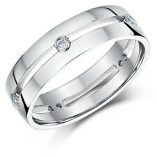 9ct White Gold Diamond Ring Set Wedding Ring Bands 5mm, 6mm