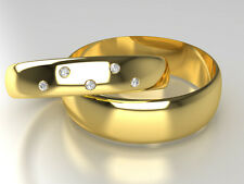 Yellow Gold Diamond Set Band His and Hers set of Wedding Rings 6 + 4mm Width