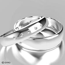 White Gold Diamond Set Band His and Hers set of Wedding Rings hers 5 diamonds