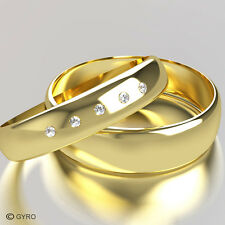 Yellow Gold Diamond Set Band His and Hers set of Wedding Rings 5 Diamonds centre