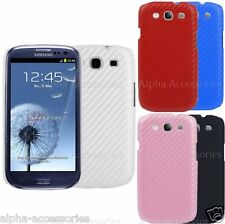 Carbon Fibre Effected Back Case Cover Skin For Samsung Galaxy i9300 S3 SIII