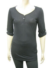 Womens Bershka Y Neck T Shirt Top Button Up Black Size 8 to 12 Ladies A3,4