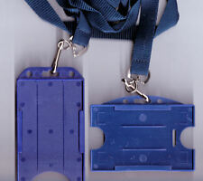 25  ID Badge Card Rigid Holders & 15mm Lanyards 10 Colours Available FREE UK P&P