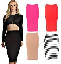 New Ladies Womens Girls Pencil Bodycon Office Tube Jersey Skirt Dress UK 8-14