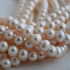 """16"""" Strand Natural Freshwater Pearl Beads Round White 5 - 9mm Grade A+"""