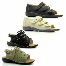 Womens Ladies Lace Up Wide Lace Up Toe Lightweight Comfort Summer Sandals Size