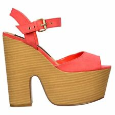 Ladies Womens Peep Toe Block Wedge Heels Summer Platform Sandals Shoes Coral 3-8