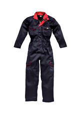 Dickies Redhawk Ladies Overalls Coveralls Boilersuit Navy/Red 10 12 14 16 18 20
