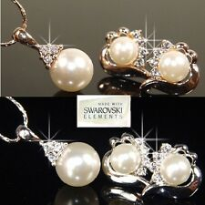Bridesmaid Pearls 18K White Gold Plated Earrings & Necklace Prom Valentine A763s
