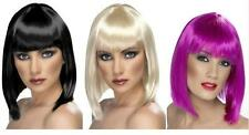 LADIES SHORT BLUNT LONG BOB HAIR with FRINGE WIG GLAM FANCY DRESS LOTS COLOURS