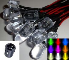 10mm Ultra Bright Pre-Wired Constant 12v LEDs Black Plastic Holders