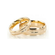 Yellow Gold Diamond Cut Cross Band His and Hers set of Wedding Rings 4mm + 5mm