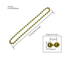 """4.5mm #10 SOLID BRASS BEAD CHAIN for CLUTCH ROLLER WINDOW SHADES 48/"""" Loop"""