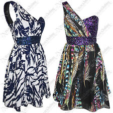 WOMENS LADIES PRINT SEQUIN GRECIAN DRESS BRA TOP ONE SHOULDER PROM LINED SKIRT