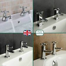 BATHROOM BASIN SINK HOT & COLD PAIR TAPS SET CHROME SOLID BRASS & OPTIONAL WASTE