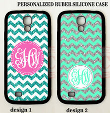 NEW Personalized CUSTOM MINT BLUE CHEVRON MONOGRAM Case For Samsung Galaxy S7 S6
