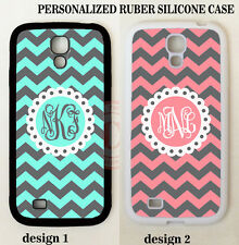 PERSONALIZE MINT CORAL GREY STRIPE MONOGRAM CUSTOM Case For Samsung Galaxy S7 S6