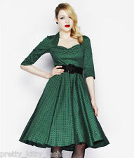BNWT HELL BUNNY GREEN VINTAGE TEA SWING PROM MOMO DRESS 8-22 ***FREE POSTAGE****