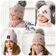 Girls Hat With Scarf Knitted Set Hat and Tube Scarf Autumn Winter Warmer 2 Piece