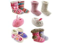 GIRLS KIDS CHARACTER SEQUIN PAW FAIRISLE SLIPPERS BOOTS WINTER BOOTIES SIZE 9- 3