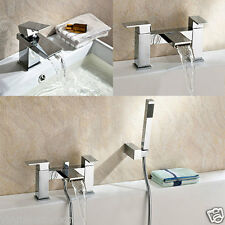 GEMINI WATERFALL BATHROOM TAP BASIN MONO, BATH FILLER & SHOWER MIXER SOLID BRASS