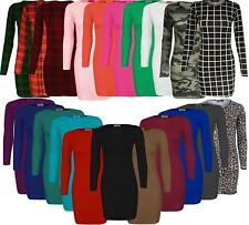 Womens Ladies Plain Stretch Mini Bodycon Dress Tunic Top Jersey Full Sleeve 8-22